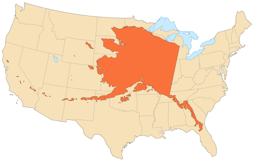"""Alaska area compared to conterminous US"" by Eric Gaba (Sting - fr:Sting) - Own work. Data:NGDC World Coast Line (public domain) NGDC World Data Bank II (public domain). Licensed under CC BY-SA 3.0 via Commons - https://commons.wikimedia.org/wiki/File:Alaska_area_compared_to_conterminous_US.svg#/media/File:Alaska_area_compared_to_conterminous_US.svg"