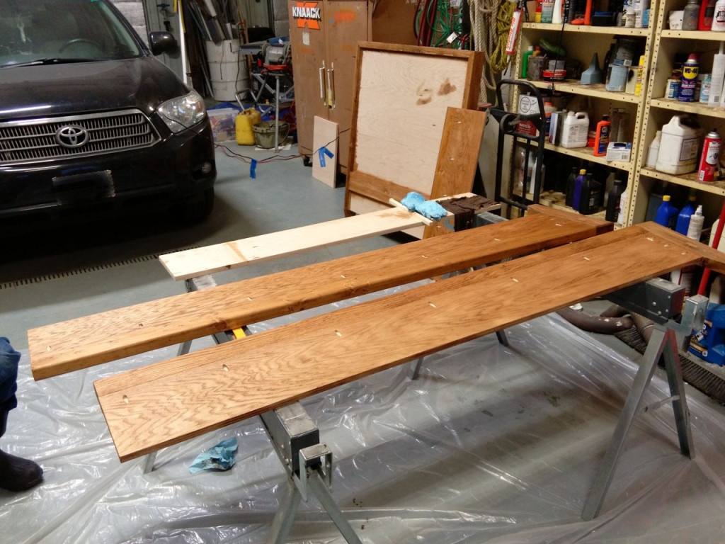 Bed rails after a coat of stain.